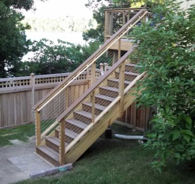 Sturdy stairs to second level deck