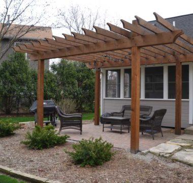 Custom crafted pergola with patio