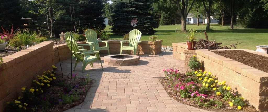 Stone walkway patio to fire pit.