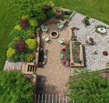 Birdseye view of custom landscaping in backyard