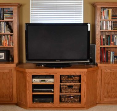 Wall to wall bookshelf and entertainment center in basement