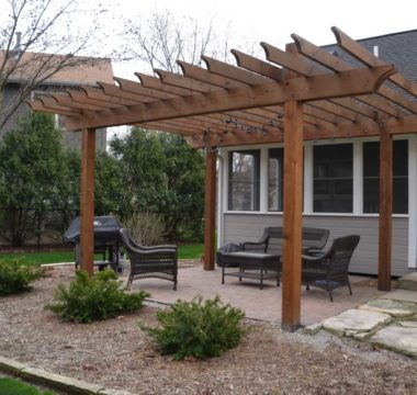 Custom crafted pergola with patio