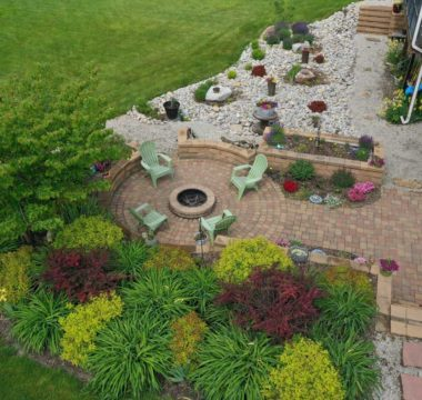 Aerial landscape photo of backyard makeover