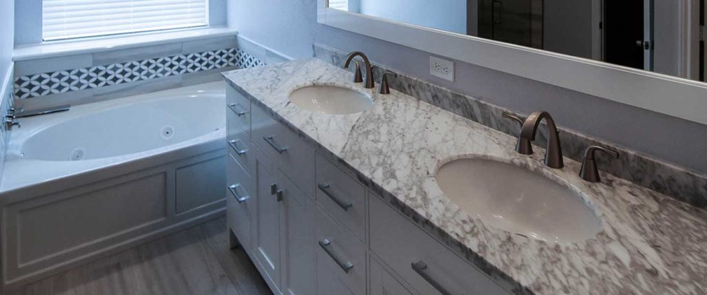 Interior view of remodeled bathroom