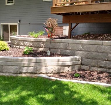 Creative retaining wall and landscaping