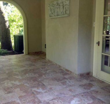 Stone tiled floor on patio